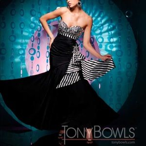 Tony Bowls Black Strapless Mermaid Gown 111736